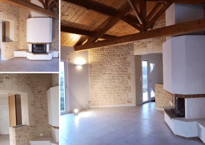 Décoration intérieure mur enduit imitation pierres
