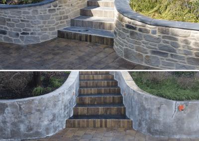Mur de clôture avec enduit imitation pierres