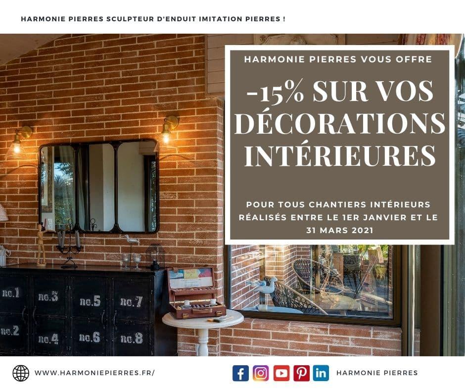 Reduction -15% pour toute décoration intérieure d'enduit imitation pierres